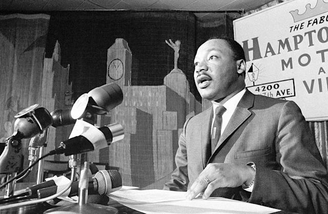 <p>Dr. Martin Luther King urged in a press conference the Johnson administration consider prompt U.S. withdrawal from the Vietnam war, in Miami on April 13, 1966. (AP Photo/Toby Massey) </p>