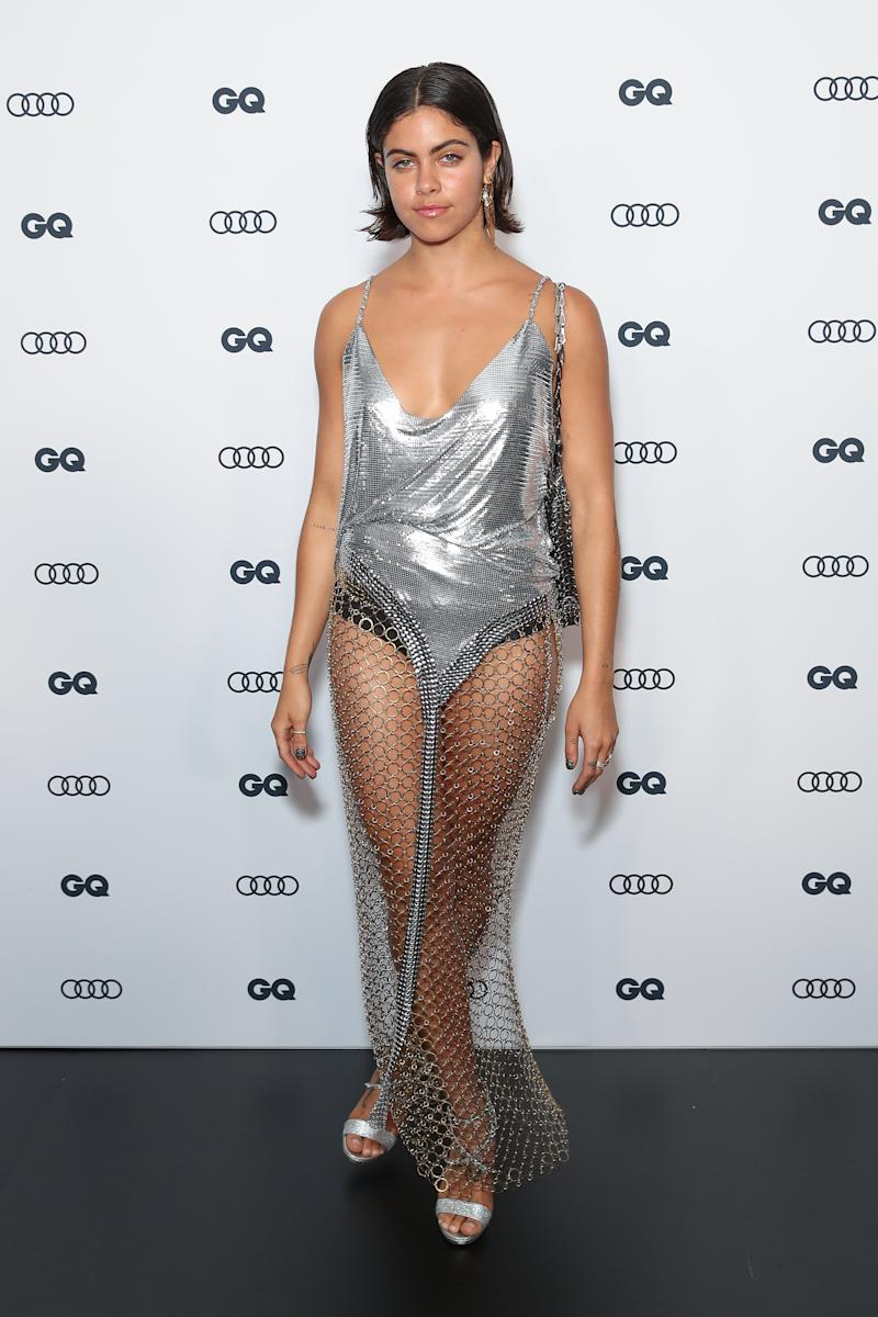 A photo of Mimi Elashiry wearing a sheer silver dress at the GQ Men of The Year Awards 2019 on November 28, 2019 in Sydney, Australia.