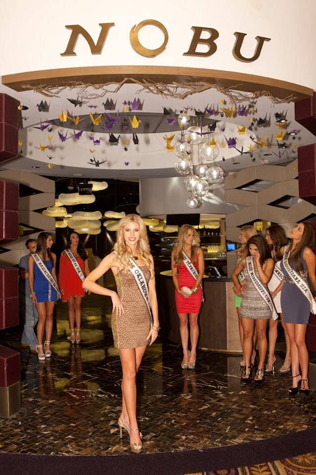 Miss Oklahoma USA 2013, Makenzie Muse films prior to a tepanyaki meal at Nobu in Caesar's Palace in Las Vegas, Nevada on Thursday June 6, 2013.