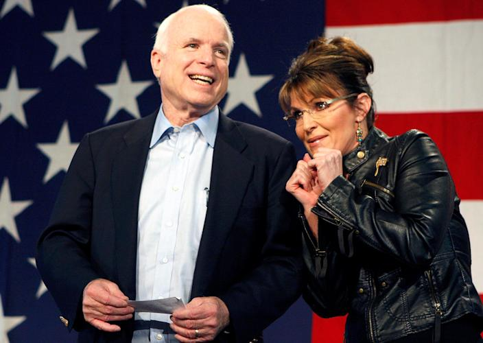 Image: FILE PHOTO - U.S. Senator John McCain and former Alaska Governor and vice presidential candidate Palin acknowledge crowd during a campaign rally for McCain at the Pima County Fairgrounds in Tucson (Joshua Lott / Reuters file)