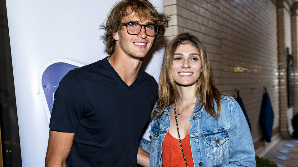 Alexander Zverev and Olga Sharypova, pictured here at the Hamburg Open Players Party in 2019.
