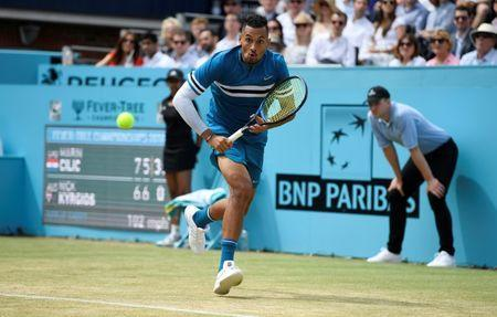 Tennis - ATP 500 - Fever-Tree Championships - The Queen's Club, London, Britain - June 23, 2018 Australia's Nick Kyrgios in action during his semi final match against Croatia's Marin Cilic Action Images via Reuters/Tony O'Brien