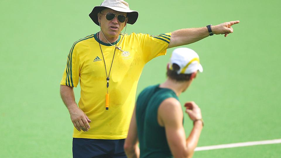 Ric Charlesworth, pictured here addressing his players during a training session in 2010.