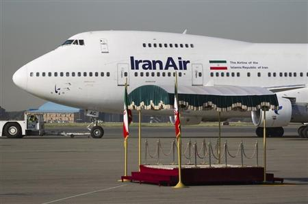 The IranAir Boeing 747SP aircraft with Iran's President Ahmadinejad onboard is pictured before leaving Tehran's Mehrabad airport en route to New York