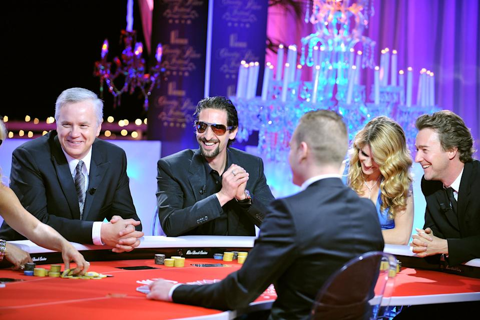 CANNES, FRANCE - MAY 17:  (L-R) Actors Tim Robbins, Adrien Brody, Alice Taglioni and Edward Norton attend the Partouche Charity Poker Festival held at Palm Beach Casino during the 61st Cannes International Film Festival on May 17, 2008 in Cannes, France.  (Photo by Pascal Le Segretain/Getty Images for Partouche)