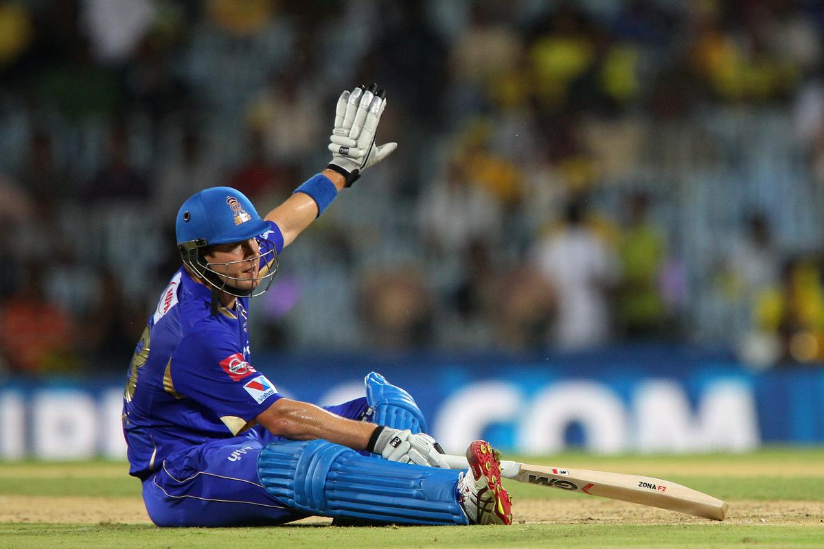 Shane Watson slips as he turns during match 30 of the Pepsi Indian Premier League between The Chennai Superkings and the Rajasthan Royals held at the MA Chidambaram Stadiumin Chennai on the 22nd April 2013..Photo by Ron Gaunt-IPL-SPORTZPICS   .. .Use of this image is subject to the terms and conditions as outlined by the BCCI. These terms can be found by following this link:..https://ec.yimg.com/ec?url=http%3a%2f%2fwww.sportzpics.co.za%2fimage%2fI0000SoRagM2cIEc&t=1490893557&sig=KmWXzXZeBOb5LBtrhKVoPA--~C