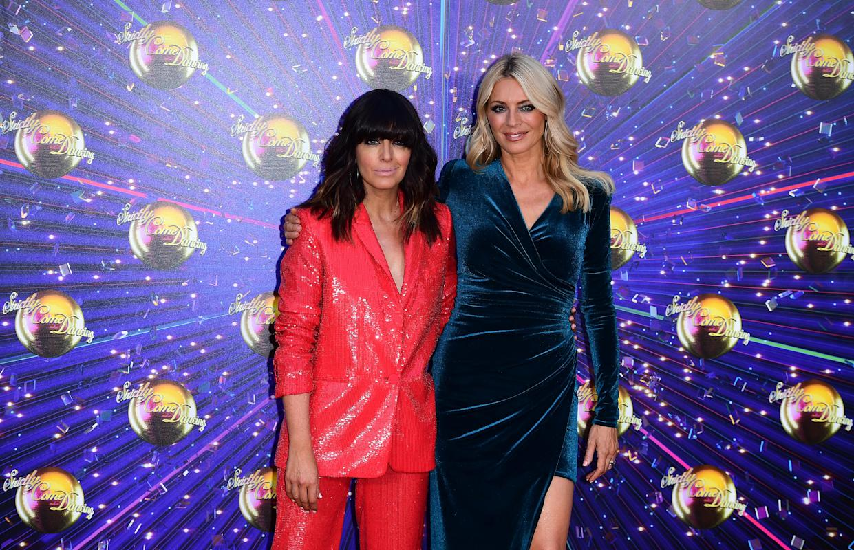 Claudia Winklemann and Tess Daly arriving at the red carpet launch of Strictly Come Dancing 2019, held at BBC TV Centre in London, UK. (Photo by Ian West/PA Images via Getty Images)