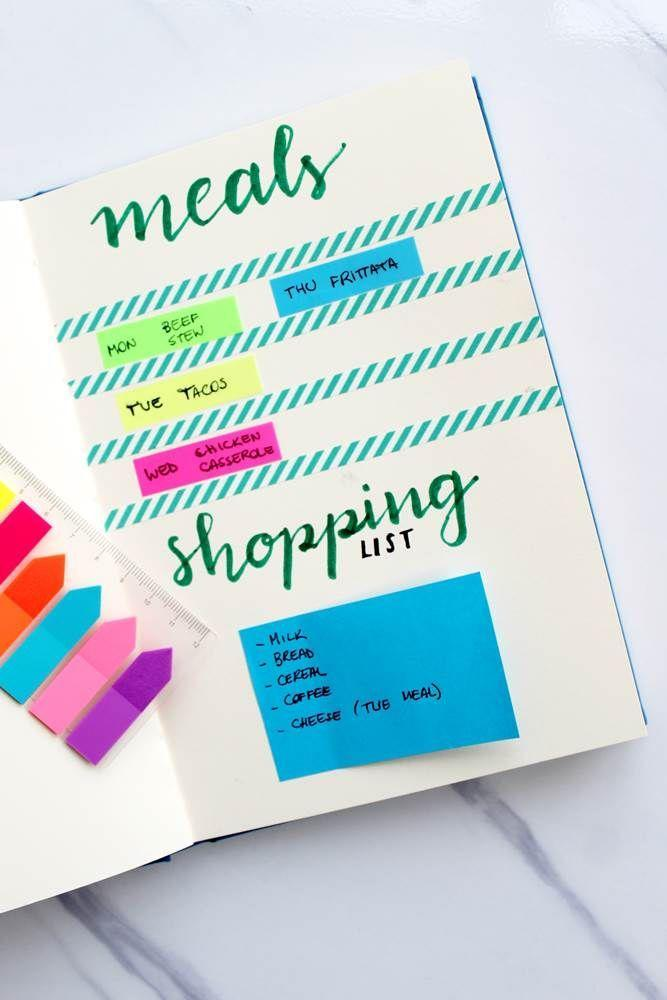 """<p>A little meal planning will keep you from panicking over what's for dinner, and your bujo can help keep it all in one place. <a href=""""https://diaryofajournalplanner.com/bullet-journal-meal-planning/"""" rel=""""nofollow noopener"""" target=""""_blank"""" data-ylk=""""slk:Create a chart"""" class=""""link rapid-noclick-resp"""">Create a chart</a> to map out each day's menu, then stick Post-It notes with your shopping list to the page. When you head to the store, Diary of a Journal planner recommends bringing the sticky note with you, so you don't forget anything.</p>"""