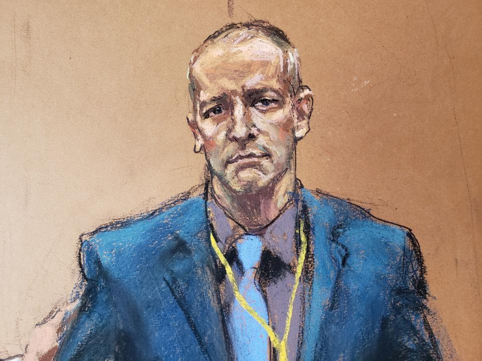 Derek Chauvin, the former Minneapolis police officer facing murder charges in the death of George Floyd, is introduced to potential jurors during jury selection in his trial in Minneapolis, Minnesota, U.S., March 15, 2021 in this courtroom sketch from a video feed of the proceedings. REUTERS/Jane Rosenberg