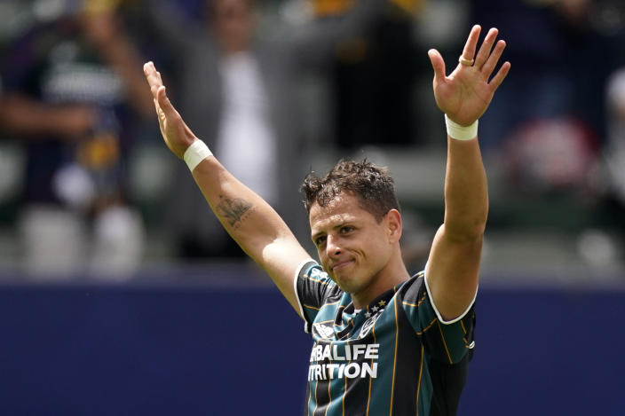 LA Galaxy forward Javier Hernandez celebrates after scoring during the second half of a Major League Soccer match against Austin FC Saturday, May 15, 2021, in Carson, Calif. The Galaxy won 2-0. (AP Photo/Mark J. Terrill)
