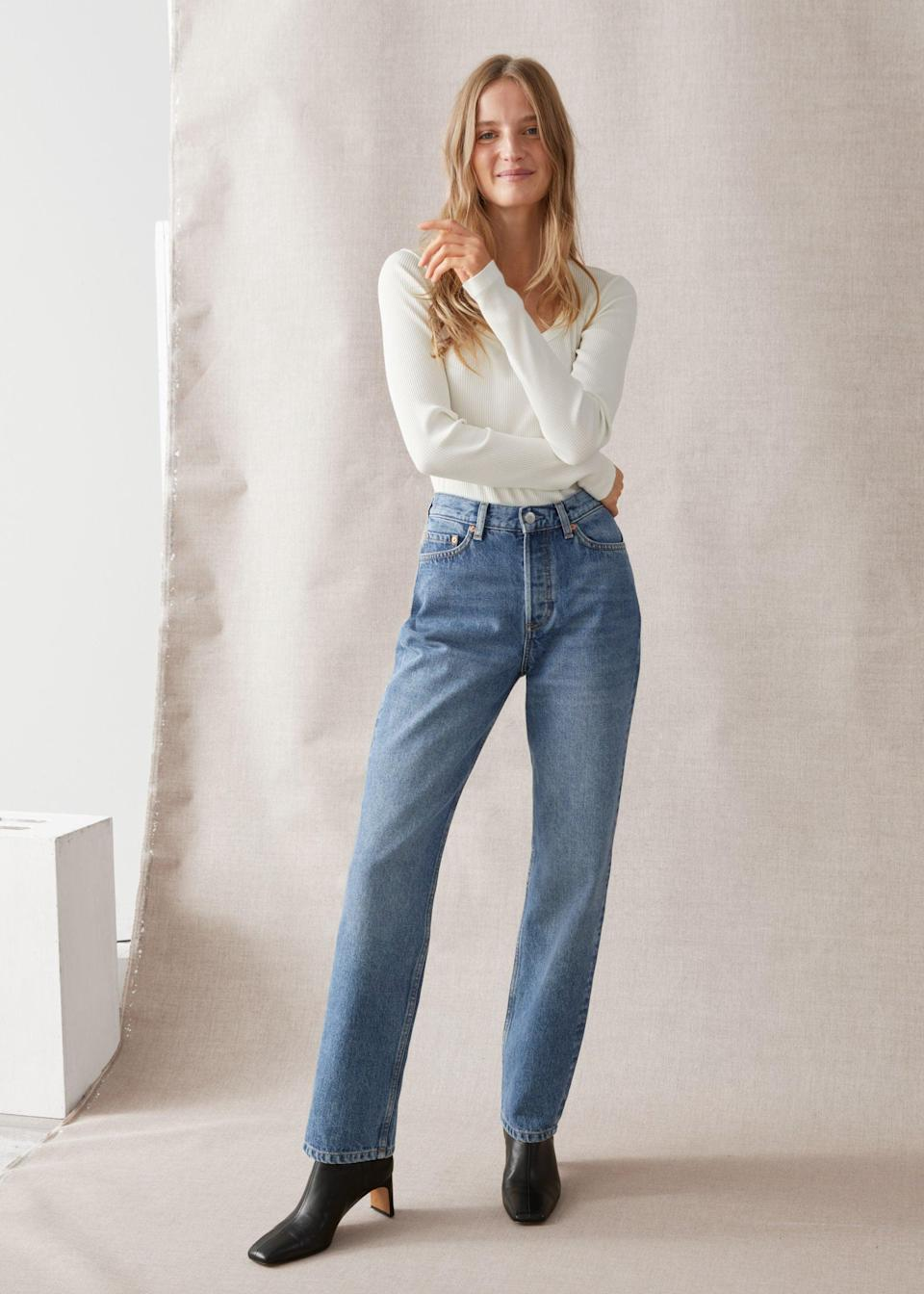 "<br><br><strong>& Other Stories</strong> Keeper Cut Jeans, $, available at <a href=""https://go.skimresources.com/?id=30283X879131&url=https%3A%2F%2Fwww.stories.com%2Fen_usd%2Fclothing%2Fjeans%2Fstraight%2Fproduct.keeper-cut-jeans-blue.0899001002.html"" rel=""nofollow noopener"" target=""_blank"" data-ylk=""slk:& Other Stories"" class=""link rapid-noclick-resp"">& Other Stories</a>"