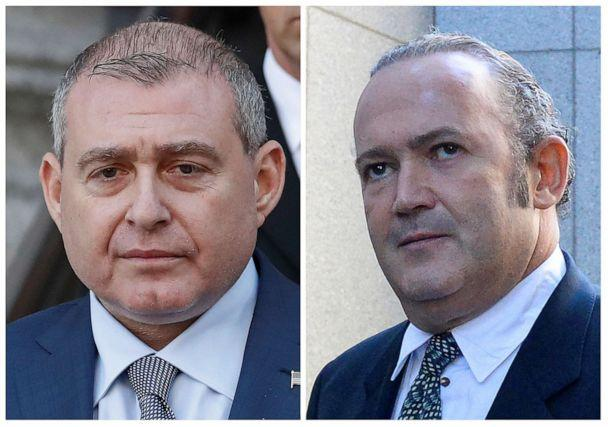 PHOTO: A combination file picture shows Ukrainian-American businessman Lev Parnas and Russian-born businessman Igor Fruman exiting the U.S. Courthouse in New York City, U.S., Oct. 23, 2019. (Staff/Reuters)