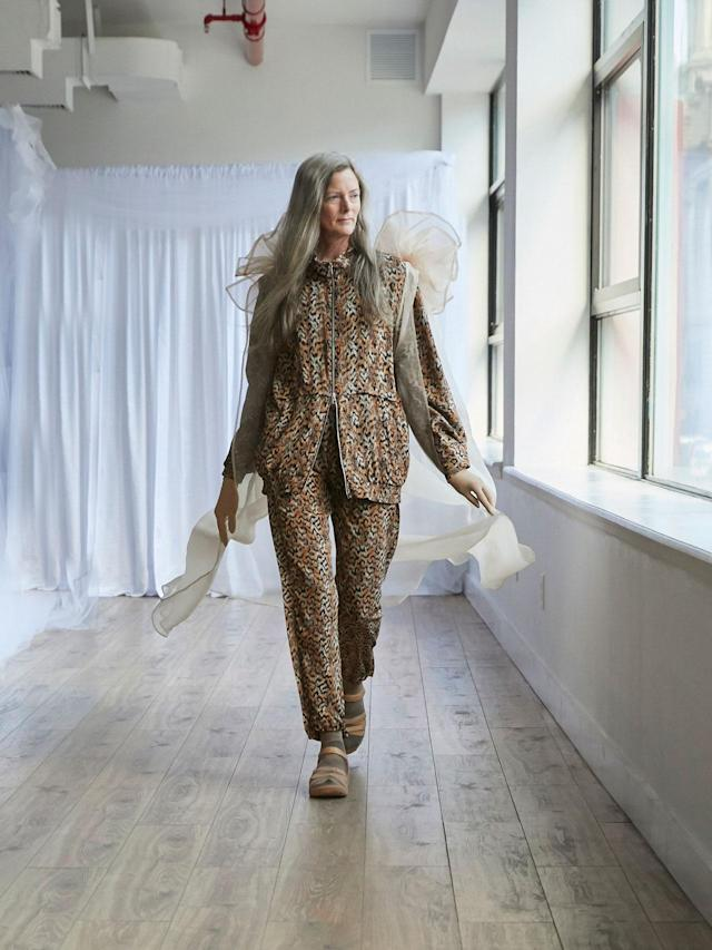 <p>Older female model wears leopard zip jacket and trouser set at the Collina Strada Fall/Winter 2018 show. (Photo: Jonathan Hokklo) </p>