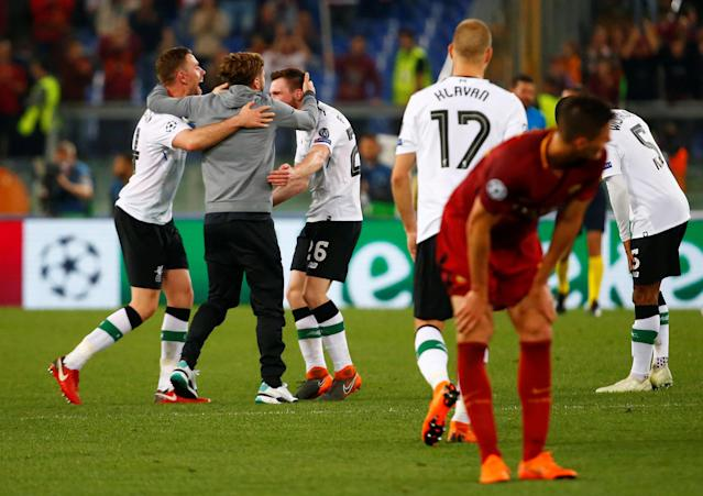 Soccer Football - Champions League Semi Final Second Leg - AS Roma v Liverpool - Stadio Olimpico, Rome, Italy - May 2, 2018 Roma's Patrik Schick looks dejected after the match as Liverpool's Adam Lallana and team mates celebrate REUTERS/Tony Gentile