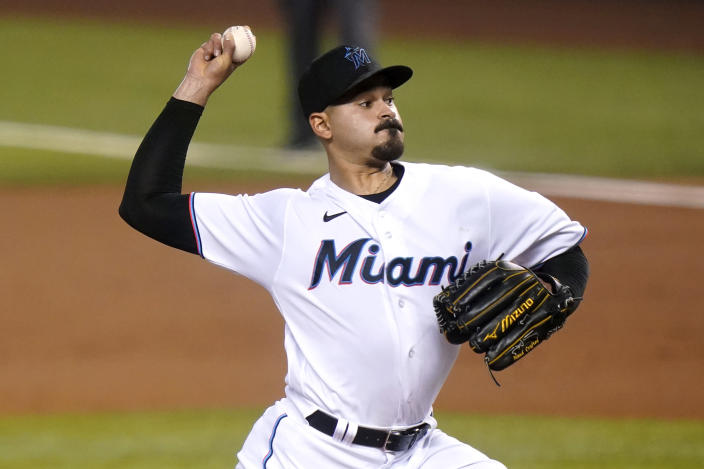 Miami Marlins starting pitcher Pablo Lopez throws during the first inning of a baseball game against the Arizona Diamondbacks, Thursday, May 6, 2021, in Miami. (AP Photo/Lynne Sladky)