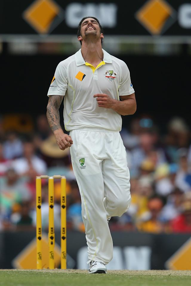 BRISBANE, AUSTRALIA - NOVEMBER 24:  Mitchell Johnson of Australia reacts after bowling during day four of the First Ashes Test match between Australia and England at The Gabba on November 24, 2013 in Brisbane, Australia.  (Photo by Mark Kolbe/Getty Images)