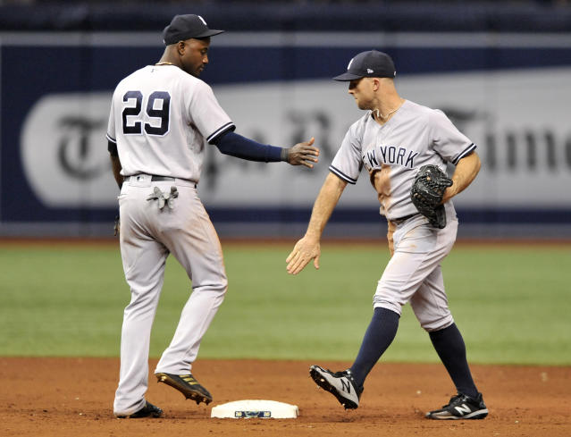New York Yankees shortstop Adeiny Hechavarria (29) and center fielder Brett Gardner, right, celebrate the team's 9-2 win over the Tampa Bay Rays during a baseball game Tuesday, Sept. 25, 2018, in St. Petersburg, Fla. (AP Photo/Steve Nesius)