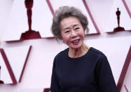 Youn Yuh-jung arrives at the Oscars on Sunday, April 25, 2021, at Union Station in Los Angeles. (AP Photo/Chris Pizzello, Pool)