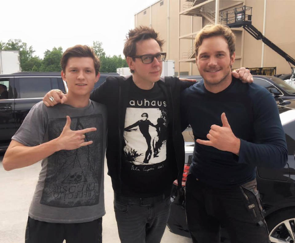 """<p>Perhaps a little Infinity War preview?<i> Guardians of the Galaxy</i> helmer James Gunn and his Star-Lord ran into Holland on the Atlanta set on June 20. As Gunn <a href=""""https://www.facebook.com/jgunn/photos/a.216126946156.142629.48103536156/10153421038016157/"""" rel=""""nofollow noopener"""" target=""""_blank"""" data-ylk=""""slk:noted on Facebook"""" class=""""link rapid-noclick-resp"""">noted on Facebook</a>: """"Many blessings today to the star of <i>Spider-Man: Homecoming</i>, Tom Holland, and the film's director, Jon Watts (standing in here for Jon is some dude that was passing by), as they begin their shoot in Atlanta just as we are ending ours. I don't think we could pass the <a href=""""https://www.facebook.com/Marvel/"""" rel=""""nofollow noopener"""" target=""""_blank"""" data-ylk=""""slk:Marvel"""" class=""""link rapid-noclick-resp"""">Marvel</a> baton to two nicer, better guys who care more about what they're doing. Kill it! — with <a href=""""https://www.facebook.com/PrattPrattPratt/"""" rel=""""nofollow noopener"""" target=""""_blank"""" data-ylk=""""slk:Chris Pratt"""" class=""""link rapid-noclick-resp"""">Chris Pratt</a>. <i>(<a href=""""https://www.facebook.com/jgunn/photos/a.216126946156.142629.48103536156/10153421038016157/"""" rel=""""nofollow noopener"""" target=""""_blank"""" data-ylk=""""slk:James Gunn/Facebook"""" class=""""link rapid-noclick-resp"""">James Gunn/Facebook</a>)</i></p>"""