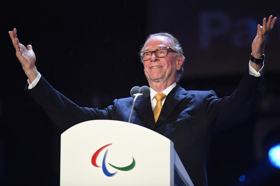 RIO DE JANEIRO, BRAZIL - SEPTEMBER 18:  President of Brazil's Olympic Committee Sr. Carlos Arthur Nuzman gives a speech during the closing ceremony of the Rio 2016 Paralympic Games at Maracana Stadium on September 18, 2016 in Rio de Janeiro, Brazil.  (Photo by Atsushi Tomura/Getty Images for Tokyo 2020)