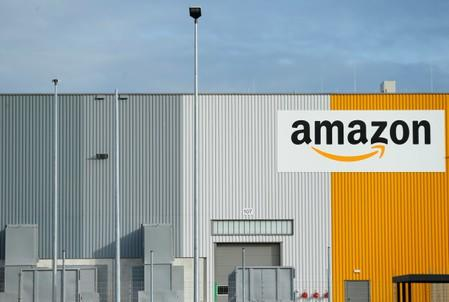 FILE PHOTO - A view of the Amazon logistic center with the company's logo in Dortmund