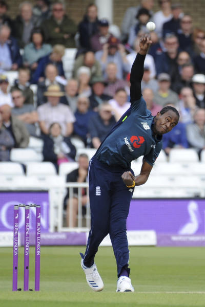 England's Jofra Archer bowls a delivery during the Fourth One Day International cricket match between England and Pakistan at Trent Bridge in Nottingham, England, Friday, May 17, 2019. (AP Photo/Rui Vieira)