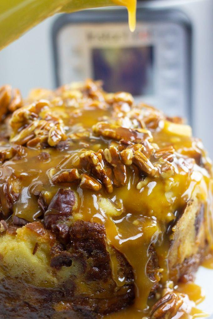 """<p>A nutty pecan caramel glaze adds an extra touch of sweetness to this soft, moist bread pudding. Yum!</p><p><em><a href=""""https://www.myforkinglife.com/instant-pot-bread-pudding-with-pecan-caramel-glaze/"""" rel=""""nofollow noopener"""" target=""""_blank"""" data-ylk=""""slk:Get the recipe from My Forking Life »"""" class=""""link rapid-noclick-resp"""">Get the recipe from My Forking Life »</a></em> </p><p><strong>RELATED: </strong><a href=""""https://www.goodhousekeeping.com/health/diet-nutrition/a47166/health-benefits-of-pecans/"""" rel=""""nofollow noopener"""" target=""""_blank"""" data-ylk=""""slk:9 Health Benefits of Pecans That'll Make You Go Nuts"""" class=""""link rapid-noclick-resp"""">9 Health Benefits of Pecans That'll Make You Go Nuts</a></p>"""