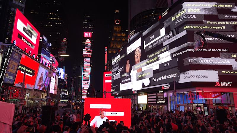 "SK-II's Times Square takeover on 4 March 2020 for the launch of ""VS"", an SK-II STUDIO animated series, as part of the brand's campaign against toxic competition. The billboards are displaying toxic comments from ""beauty trolls"" directed at Olympic gymnast Simone Biles. (Photo: SK-II)"