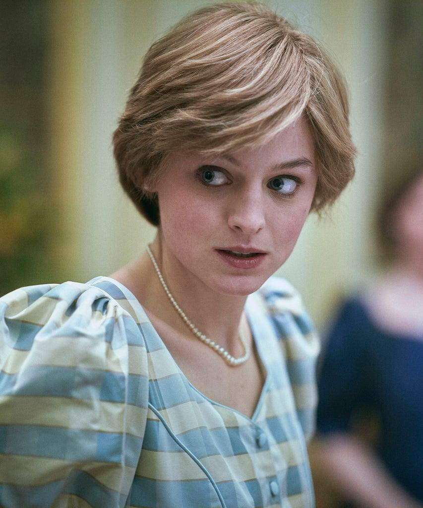 The Crown S4. Picture shows: Princess Diana (EMMA CORRIN). Filming location: Goldsmiths Hall