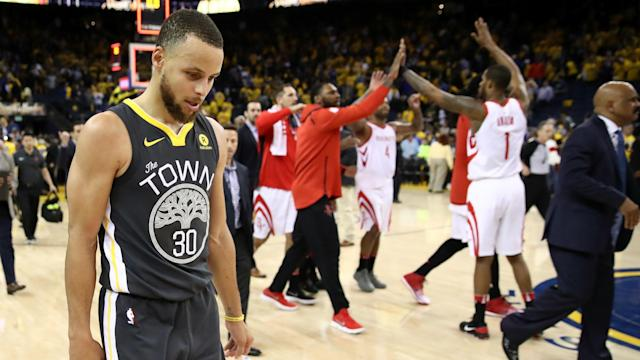 Warriors superstar Stephen Curry failed to save his team down the stretch as the Rockets squared the series at 2-2 in Oakland.