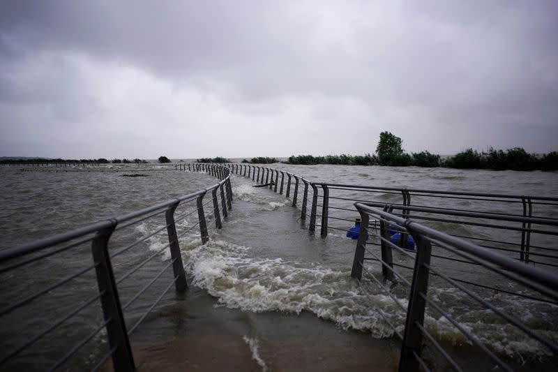 View of floodwaters overflown to the banks of Tai Lake following heavy rainfall in Huzhou