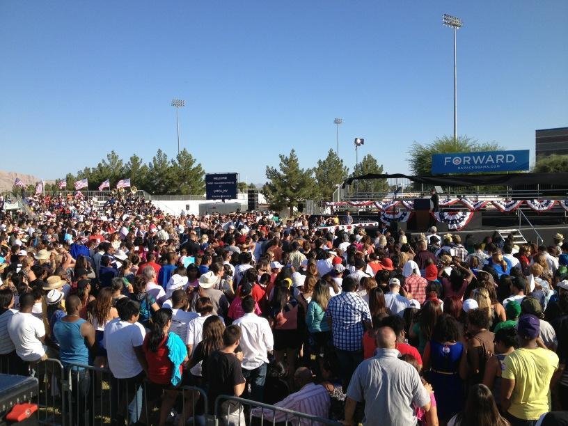 Crowd filling up at Desert Pines High School for Obama rally. #2012