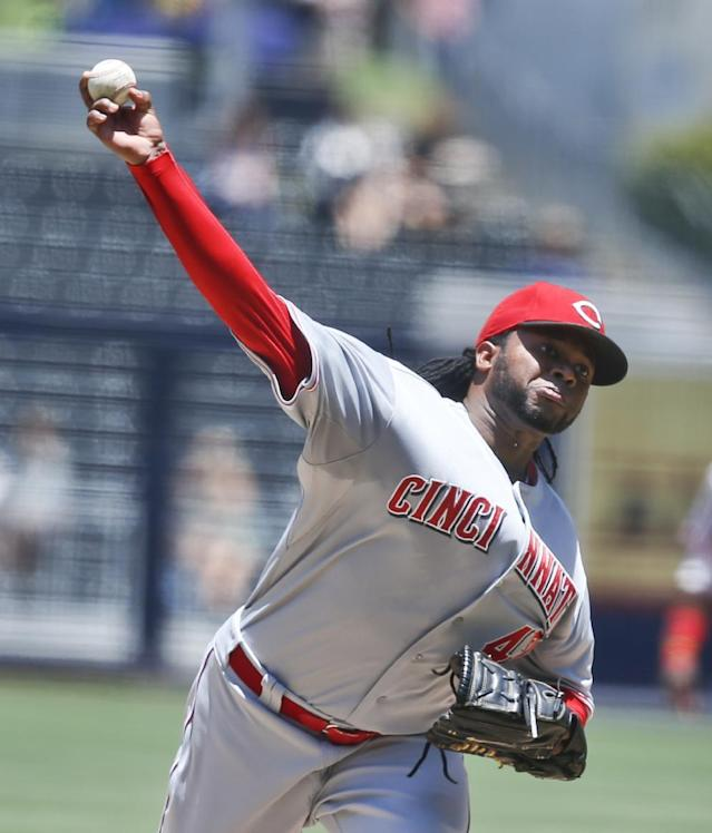 Cincinnati Reds starting pitcher Johnny Cueto delivers against the San Diego Padres in the first inning of a baseball game on Wednesday, July 2, 2014, in San Diego. (AP Photo/Lenny Ignelzi)
