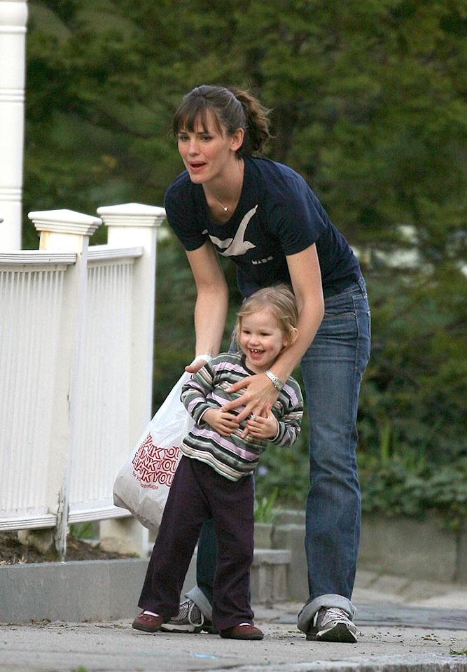 """Gotcha!"" Jennifer Garner makes sure that her little girl Violet is always nearby. <a href=""http://www.infdaily.com"" target=""new"">INFDaily.com</a> - April 24, 2008"