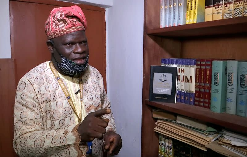 Professor of Islamic Studies, Taiwo Salisu, speaks during an interview with Reuters in Lagos