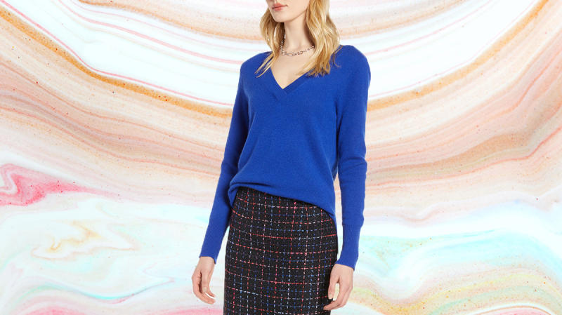 Cashmere is on everyone's wishlist. Make her dreams come true with this flattering v-neck sweater. (Photo: Nordstrom)