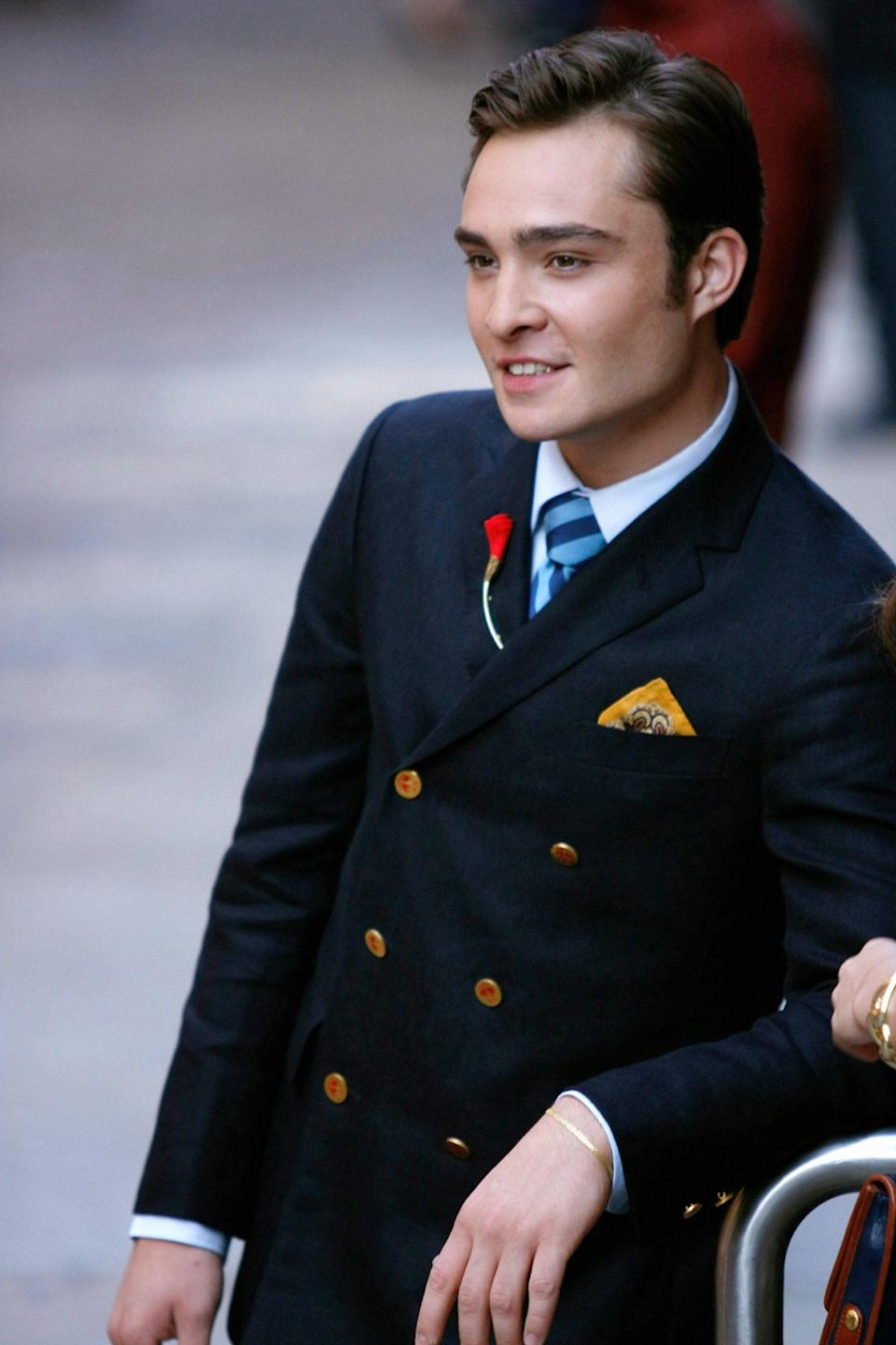 <p>I mean . . . only Chuck Bass can make a double-breasted blazer look this damn good.</p>