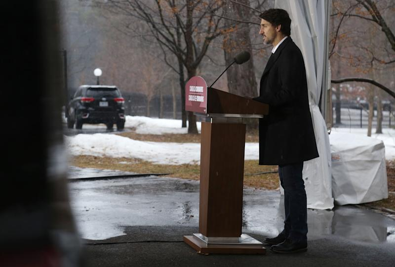 Canadian Prime Minister Justin Trudeau speaks during a news conference on COVID-19 situation in Canada from his residence March 29, 2020 in Ottawa, Canada. (Photo by Dave Chan / AFP) (Photo by DAVE CHAN/AFP via Getty Images)