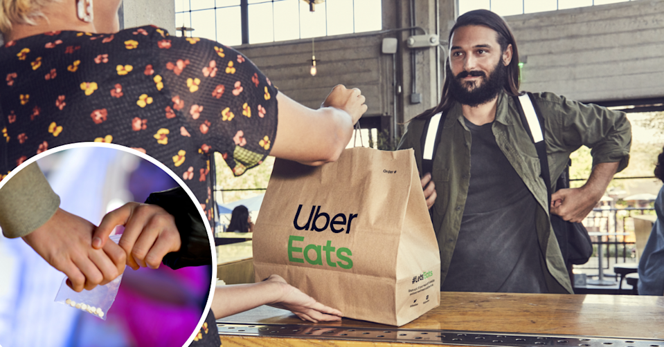 Hands pass a small bag of white pills to each other and an Uber Eats bag being handed from one person to another