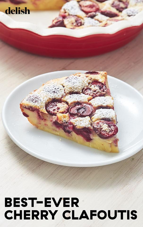 """<p>Think half flan, half cake, and a 100 percent perfection. </p><p>Get the recipe from <a href=""""https://www.delish.com/cooking/recipe-ideas/a28109110/cherry-clafoutis-recipe/"""" target=""""_blank"""">Delish</a>.</p>"""