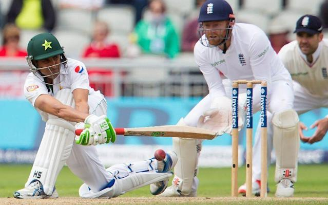 <span>Younis Khan plays a shot during Test match against England</span>