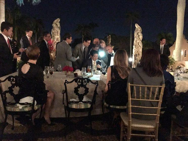 Prime Minister Abe of Japan and aides at Mar-a-Lago Saturday night. (via Richard DeAgazio's Facebook)