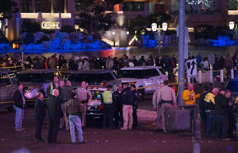 Police investigate a part of the Las Vegas Strip after a woman with a toddler in her car rammed into pedestrians, killing one person and injuring at least 26 (AFP Photo/Valerie Macon)
