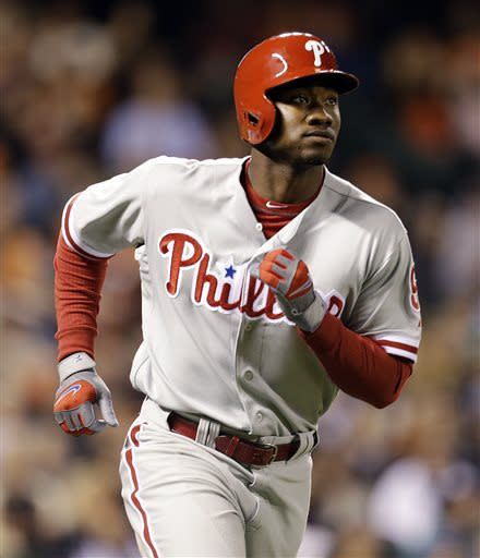 Philadelphia Phillies' Domonic Brown runs the bases after hitting a home run off San Francisco Giants' Madison Bumgarner in the fifth inning of a baseball game, Monday, May 6, 2013, in San Francisco. (AP Photo/Ben Margot)