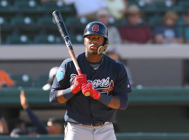 Ronald Acuña will begin the season in the minors for the Braves after performing well this spring. (Getty Images)