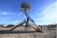 <p>This shallow, saline rift lake within the Coachella Valley has experienced a tourism resurgence as of late, as eclectic artists have chosen it as home base for eccentric art installations, like this one.</p>