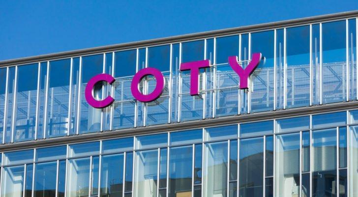 The Coty (COTY) logo on a glass office in Poland.