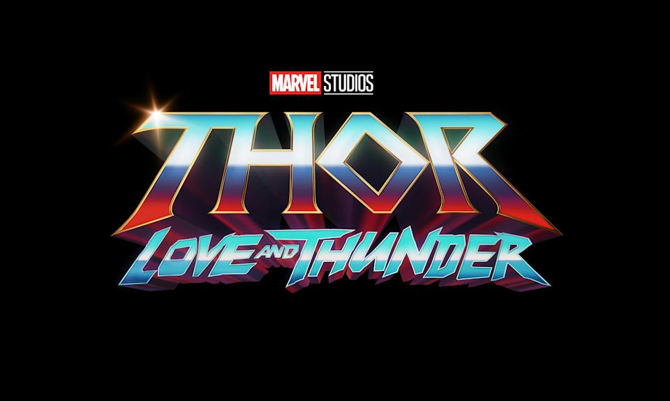The title treatment for Thor: Love and Thunder (Disney)