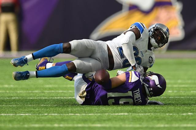 <p>Pass to Adam Thielen #19 of the Minnesota Vikings is broken up by Johnson Bademosi #29 of the Detroit Lions during the first quarter of the game on November 6, 2016 at US Bank Stadium in Minneapolis, Minnesota. (Photo by Stacy Revere/Getty Images) </p>
