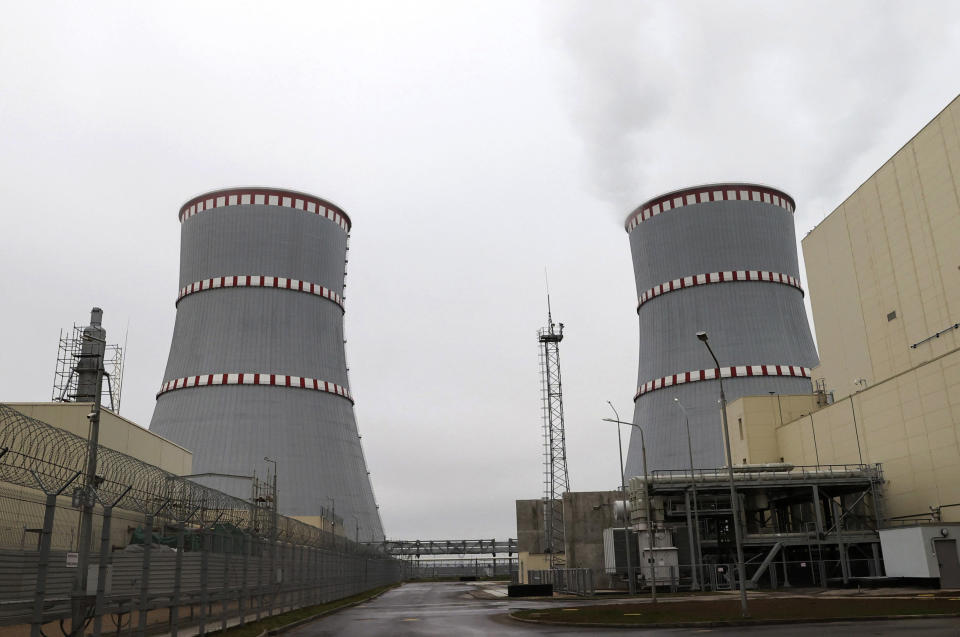 """General view of the first Belarusian Nuclear Power Plant during the plant's power launch event outside the city of Astravets, Belarus, Saturday, Nov. 7, 2020. Alexander Lukashenko on Saturday formally opened the country's first nuclear power plant, a project sharply criticized by neighboring Lithuania. Lukashenko said the launch of the Russian-built and -financed Astravyets plant """"will serve as an impetus for attracting the most advanced technologies to the country and innovative directions in science and education."""" (Maxim Guchek/BelTA Pool Photo via AP)"""